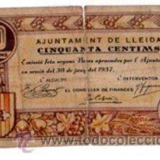 Billetes locales: AJUNTAMENT DE LLEIDA, CINQUANTA CENTIMS. Lote 32025454