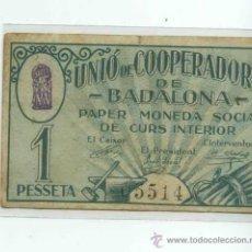 Billetes locales: UNIÓ DE COOPERADORS DE BADALONA 1 PTS. Lote 32406798