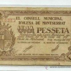 Billetes locales: BILLETE GUERRA CIVIL OLESA DE MONTSERRAT. Lote 32936414