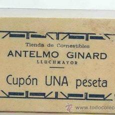 Billetes locales: BILLETE / CUPÓN / VALE DE MALLORCA. TIENDA DE COMESTIBLES ANTELMO GINARD / LLUCHMAYOR ( LLUCMAJOR ). Lote 32936936