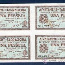 Billetes locales: AYUNTAMIENTO DE TARRAGONA, 1 PESETA, BLOQUE DE 4 SIN CORTAR, PLANCHA.. Lote 33290397