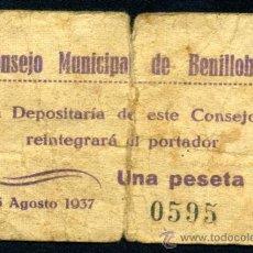 Billetes locales: BENILLOBA (ALICANTE) - 1 PTA.BC +. Lote 33306924