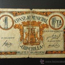 Billetes locales: CHINCHILLA 1PTA. Lote 33356058