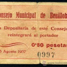 Billetes locales: BENILLOBA (ALICANTE) 50 CENTIMOS AGOSTO1937 MBC . Lote 33397891