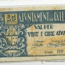Billetes locales: BILLETE GUERRA CIVIL CALELLA. Lote 33689880