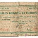 Billetes locales: 0,50 PESETA DE MEQUINENZA (ZARAGOZA) RARO. Lote 33784746