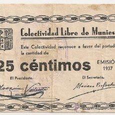 Billetes locales: 25 CTMOS DE MUNIESA (ZARAGOZA) RARO ASÍ. Lote 33784787