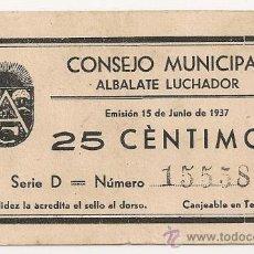 Billetes locales: 25 CTMOS DE ALBALATE (TERUEL) RARO ASÍ. Lote 33784832