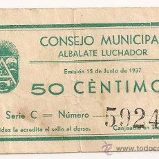 Billetes locales: 50 CENTIMOS DE ALBALATE (TERUEL) RARO. Lote 33784848