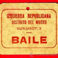Billetes locales: BILLETE VALE IZQUIERDA REPUBLICANA , GUERRA CIVIL, BAILE , CARTON , MBC ,ORIGINAL . Lote 35292750