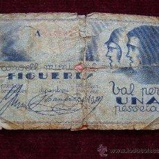 Billetes locales: VALE-BOLETO. CONSELL MUNICIPAL DE FIGUERES. 1 PESETA.. Lote 35745367