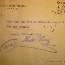 Billetes locales: RARO VALE POR UNA CAJA DE HENO DE PRAVIA. ABARAN. MURCIA 1929. . Lote 36003218
