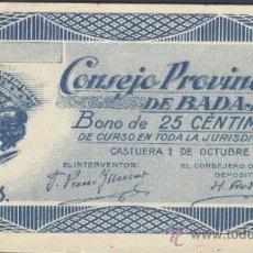 Billetes locales: BILLETE LOCAL BADAJOZ 25 CÉNTIMOS. Lote 36467401