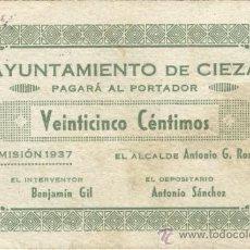 Billetes locales: BILLETE LOCAL CIEZA (MURCIA) 25 CÉNTIMOS. Lote 36470217