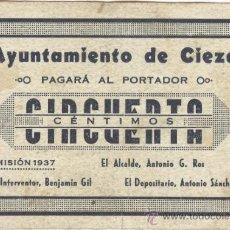 Billetes locales: BILLETE LOCAL CIEZA (MURCIA) 50 CÉNTIMOS. Lote 36470337