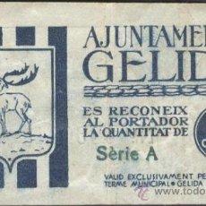 Billetes locales: BILLETE LOCAL GELIDA (BARCELONA) 5 CÉNTIMOS. Lote 36484797