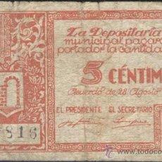 Billetes locales: BILLETE LOCAL GRAUS (HUESCA) 5 CÉNTIMOS. Lote 36489301