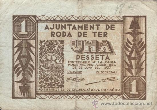 BILLETE LOCAL RODA DE TER (BARCELONA) 1 PESETA (Numismática - Notafilia - Billetes Locales)