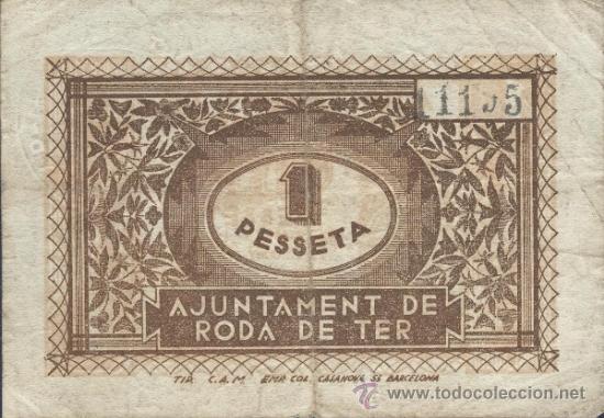 Billetes locales: Billete local RODA DE TER (Barcelona) 1 peseta - Foto 2 - 36517455