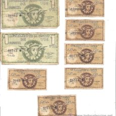 Billetes locales: AYUNTAMIENTO DE VIC (BARCELONA). LOTE FORMADO POR 2 BILLETES DE 1 PTA Y 6 DE 25 CTS. PAPEL. USADOS. Lote 36609110