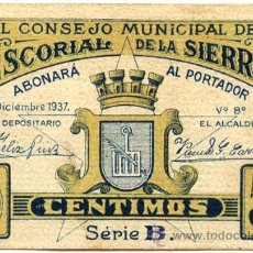 Notas locais: CONSEJO MUNICIPAL DEL ESCORIAL DE LA SIERRA. 50 CÉNTIMOS. VER TEXTO Y FOTOS. Lote 37545933