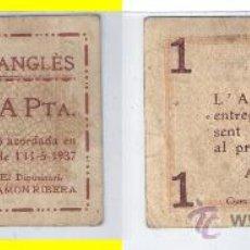 Billetes locales: L151-BILLETE LOCAL. ANGLÉS. PESETA. 1937. ESCASO. MBC-. Lote 37565035
