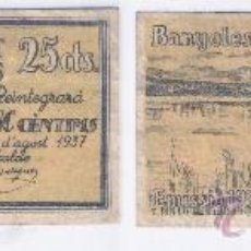 Billetes locales: L194-BILLETE LOCAL. BANYOLES. 25 CÉNTIMOS. 1937. SERIE A. MBC-. Lote 37568346