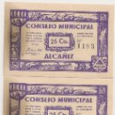 Billetes locales: 25 CENTIMOS DE ALCAÑIZ (TERUEL) UNA PAREJA CORRELATIVA. Lote 37904792