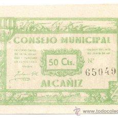 Billetes locales: 50 CENTIMOS DE ALCAÑIZ (TERUEL) COLOR MAS CLARO. Lote 37904905