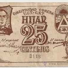 Billetes locales: 25 CENTIMOS DE HIJAR (TERUEL). Lote 37905235