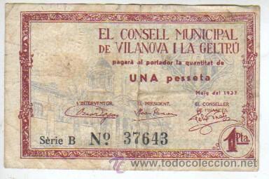 BILLETE LOCAL DEL CONSELL MUNICIPAL DE VILANOVA I LA GELTRÚ VALOR DE 1 PTAS. MARÇ 1937 (Numismática - Notafilia - Billetes Locales)