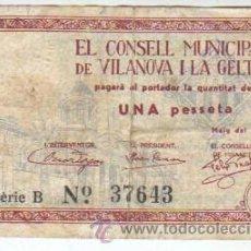 Billetes locales: BILLETE LOCAL DEL CONSELL MUNICIPAL DE VILANOVA I LA GELTRÚ VALOR DE 1 PTAS. MARÇ 1937. Lote 38344265