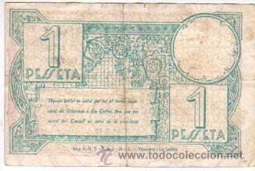 Billetes locales: billete local del consell municipal de vilanova i la geltrú valor de 1 ptas. març 1937 - Foto 2 - 38344265