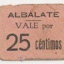 Billetes locales: 25 CENTIMOS DE ALBALATE DE CINCA. MUY RARO. Lote 38815698