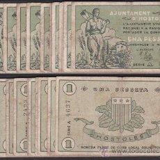 Billetes locales: BILLETE LOCAL AYUNTAMIENTO DE HOSTOLES 1 PESETA 1.5. 1937 BC+ F+. Lote 53616977