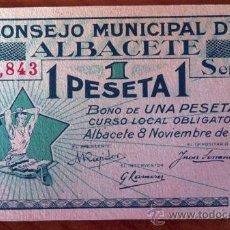 Billetes locales: BONO DE 1 PESETA CONSEJO MUNICIPAL DE ALBACETE. Lote 39014564