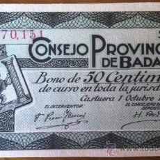 Billetes locales: BONO 50 CENTIMOS CONSEJO PROVINCIAL DE BADAJOZ. Lote 39014744