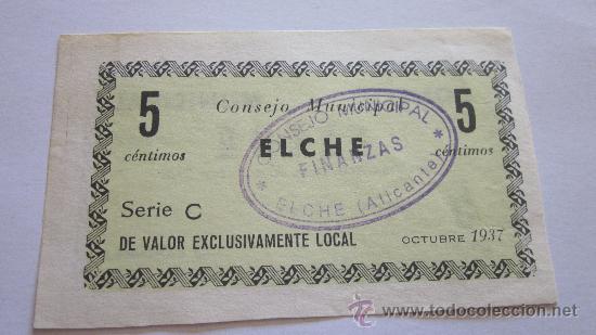 5 CÉNTIMOS DE ELCHE 1937 (Numismática - Notafilia - Billetes Locales)