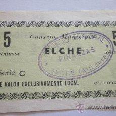 Billetes locales: 5 CÉNTIMOS DE ELCHE 1937. Lote 39157320