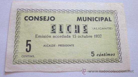 Billetes locales: 5 Céntimos de Elche 1937 - Foto 2 - 39157320