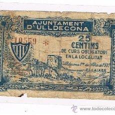 Billetes locales: ULLDECONA 25 CENTIMOS 1 DE SEPTIEMBRE DE 1937 EL DE LAS IMAGENES. Lote 39172433