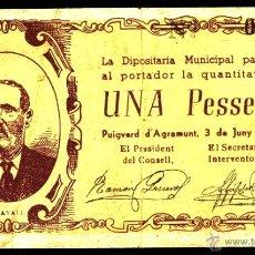 Billetes locales: PUIGVERD D'AGRAMUNT, 1 PESETA, BILLETE LOCAL, GUERRA CIVIL, EMISIÓN DE 3 DE JUNIO DE 1937, BC+.. Lote 40306543