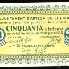 Billetes locales: ARTESA DE LLEIDA, 50 CÉNTIMOS, BILLETE LOCAL, GUERRA CIVIL, EMISIÓN DE 20 DE JUNIO DE 1937, SC-.. Lote 40306757