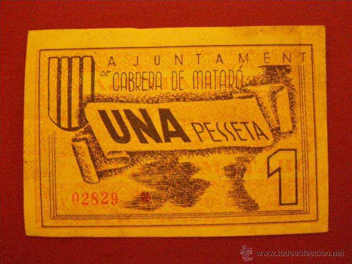 BILLETE LOCAL DE 1 PESETA DEL AJUNTAMENT DE CABRERA DE MATARO, BARCELONA. (Numismática - Notafilia - Billetes Locales)