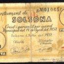 Billetes locales: SOLSONA, 1 PESETA, BILLETE LOCAL, GUERRA CIVIL, EMISIÓN DE 1 DE SEPTIEMBRE DE 1937, BC.. Lote 104906748