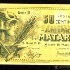 Billetes locales: MATARÓ, 50 CÉNTIMOS, BILLETE LOCAL, GUERRA CIVIL, EMISIÓN DE 16 DE MARZO DE 1937, MBC-.. Lote 40398732