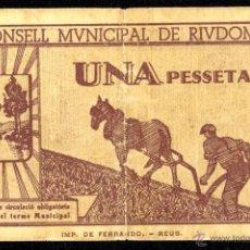 Billetes locales: RIUDOMS, 1 PESETA, BILLETE LOCAL, GUERRA CIVIL, EMISIÓN DE 15 DE JUNIO DE 1937, MBC-.. Lote 40400883