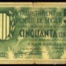 Billetes locales: POBLA DE SEGUR, 50 CÉNTIMOS, BILLETE LOCAL, GUERRA CIVIL, EMISIÓN DE JULIO DE 1937, RC.. Lote 40401163