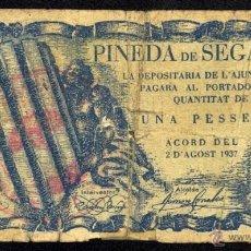 Billetes locales: PINEDA DE SEGARRA, 1 PESETA, BILLETE LOCAL, GUERRA CIVIL, EMISIÓN SEGÚN ACUERDO DE 2 DE AGOSTO DE 19. Lote 40413520
