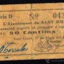 Billetes locales: AJUNTAMENT DE SANT GUIM (ESTACIÓ), 50 CÉNTIMOS, BILLETE LOCAL, GUERRA CIVIL, BC-.. Lote 40416738
